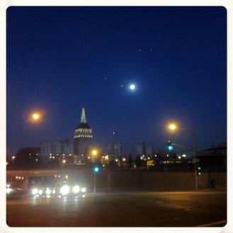 Chasing the moon in downtown Fresno circa January, 2014. Photos: Eve Hinson
