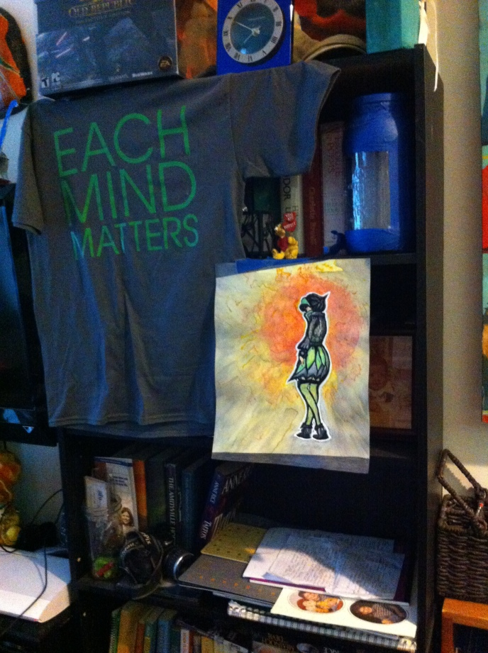 """Working on a new series inspired by the Fashion Plates toys when I was a kid. Went with the gray and lime-ish green colors on the dress to represent """"Each Mind Matters: California's Mental Health Movement."""""""